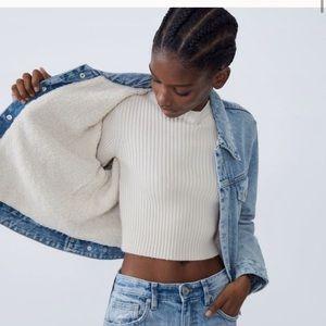NWT Zara Sherpa Lined Denim Jacket